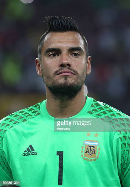 Sergio Romero of Argentina looks on prior prior a match between Venezuela and Argentina as part of FIFA 2018 World Cup Qualifiers at Metropolitano...