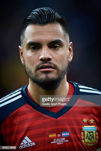 Sergio Romero of Argentina looks on prior the International friendly match between Spain and Argentina at Metropolitano Stadium on March 27 2018 in...