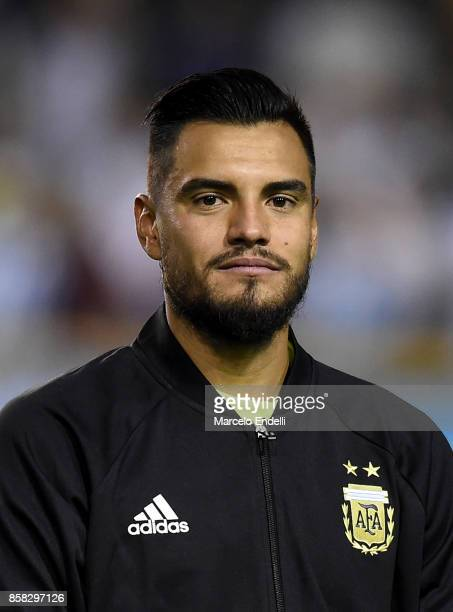 Sergio Romero of Argentina looks on prior to a match between Argentina and Peru as part of FIFA 2018 World Cup Qualifiers at Estadio Alberto J...