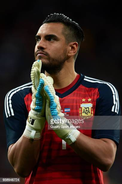 Sergio Romero of Argentina looks on prior to the International Friendly match between Spain and Argentina at Wanda Metropolitano Stadium on March 27...