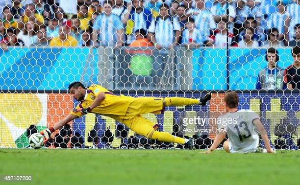 Sergio Romero Of Argentina Makes A Save During The  Fifa World Cup Brazil Final Match