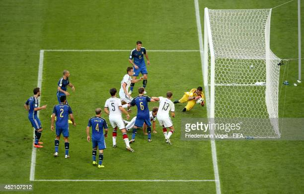 Sergio Romero of Argentina makes a save during the 2014 FIFA World Cup Brazil Final match between Germany and Argentina at Maracana on July 13 2014...