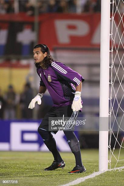 Sergio Romero of Argentina National Team during their FIFA World Cup South Africa2010 qualifier at the Defensores del Chaco Stadium on September 9...