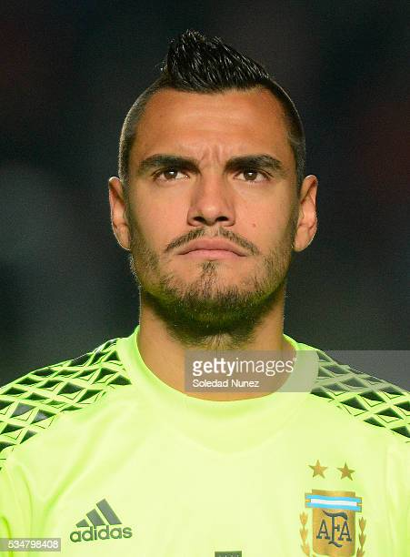 Sergio Romero of Argentina poses during an international friendly match between Argentina and Honduras at Bicentenario de San Juan Stadium on May 27...