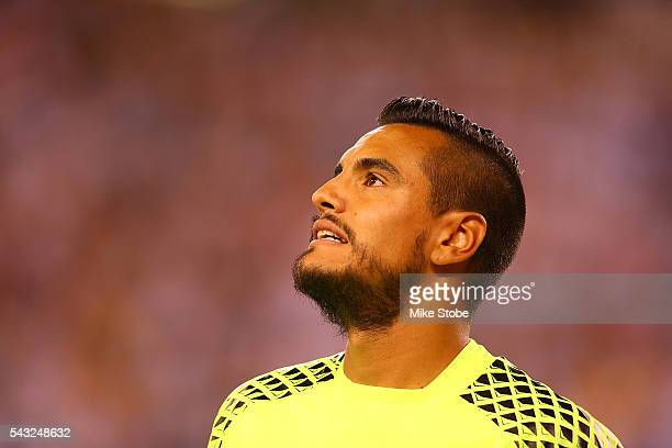 Sergio Romero of Argentina reacst after giving up a goal during penalty kicks against Chile during Copa America Centenario Championship match at...