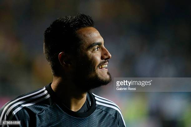 Sergio Romero of Argentina smiles after the penalty shootout during the 2015 Copa America Chile quarter final match between Argentina and Colombia at...