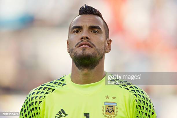 Sergio Romero of Argentina stands for the national anthem before a group D match between Argentina and Chile at Levi's Stadium as part of Copa...