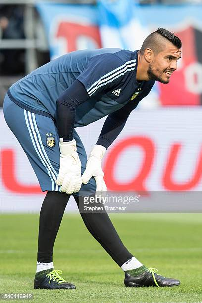 Sergio Romero of Argentina stretches before a group D match between Argentina and Bolivia at CenturyLink Field as part of Copa America Centenario US...