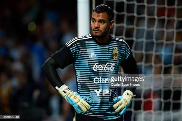 Sergio Romero of Argentina warms up prior to the International Friendly match between Spain and Argentina at Wanda Metropolitano Stadium on March 27...
