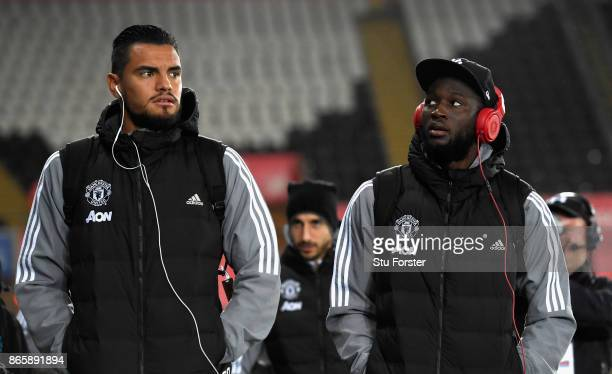 Sergio Romero of Manchester United and Romelu Lukaku of Manchester United arrive prior to the Carabao Cup Fourth Round match between Swansea City and...