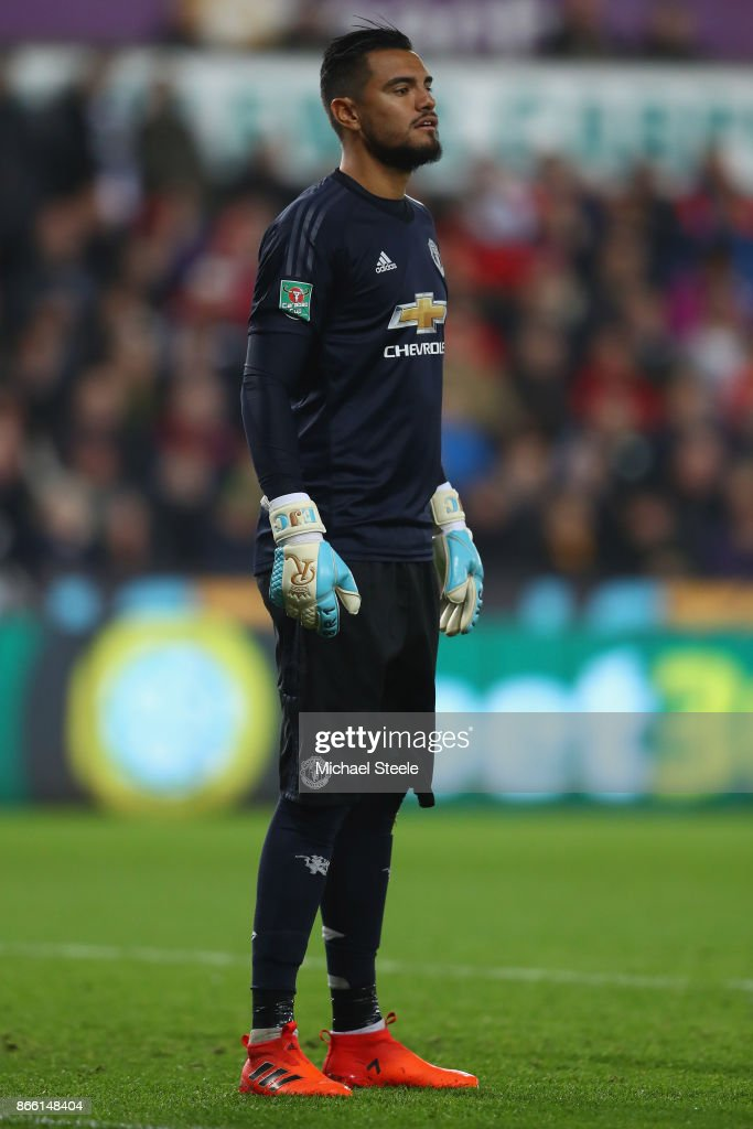 Sergio Romero of Manchester United during the Carabao Cup fourth round match between Swansea City and Manchester United at the Liberty Stadium on October 24, 2017 in Swansea, Wales.