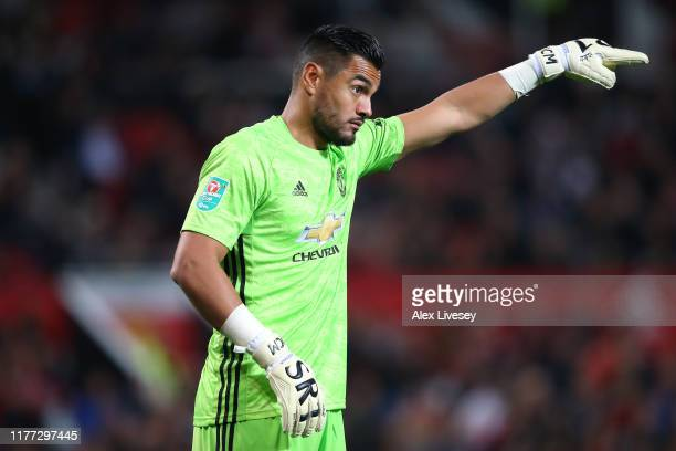 Sergio Romero of Manchester United during the Carabao Cup Third Round match between Manchester United and Rochdale at Old Trafford on September 25...