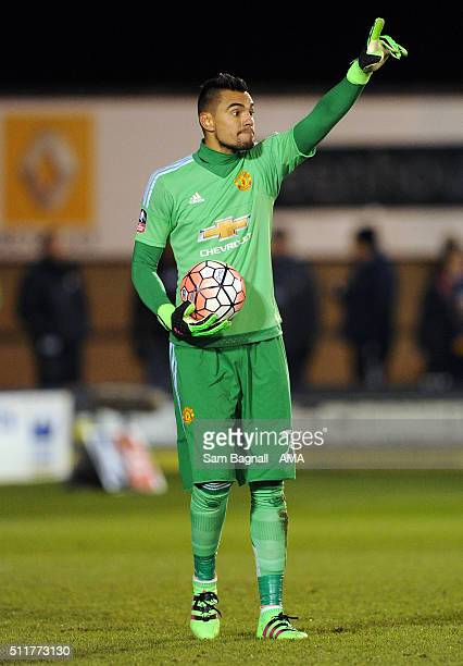 Sergio Romero of Manchester United during the Emirates FA Cup match between Shrewsbury Town and Manchester United at New Meadow on February 22 2016...