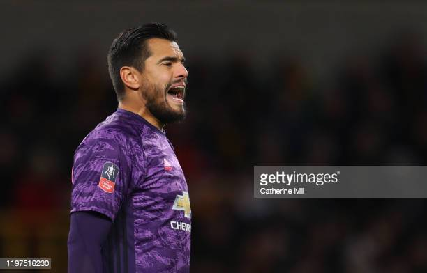 Sergio Romero of Manchester United during the FA Cup Third Round match between Wolverhampton Wanderers and Manchester United at Molineux on January...