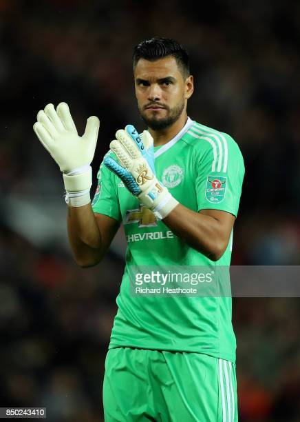 Sergio Romero of Manchester United gestures during the Carabao Cup Third Round match between Manchester United and Burton Albion at Old Trafford on...