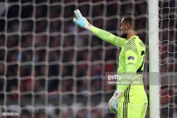 Sergio Romero of Manchester United gestures during the UEFA Europa League semi final second leg match between Manchester United and Celta Vigo at Old...