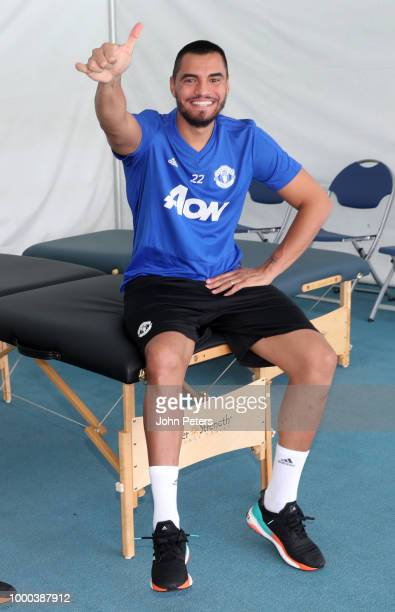 Andreas Pereira and Eric Bailly of Manchester United in action during a Manchester United preseason training session at UCLA on July 16 2018 in Los...