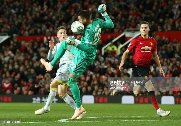 Sergio Romero of Manchester United handles the ball outside of the penalty area resulting in a red card during the Carabao Cup Third Round match...