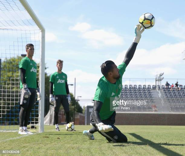 Sergio Romero of Manchester United in action during a first team training session as part of their preseason tour of the USA on July 25 2017 in...