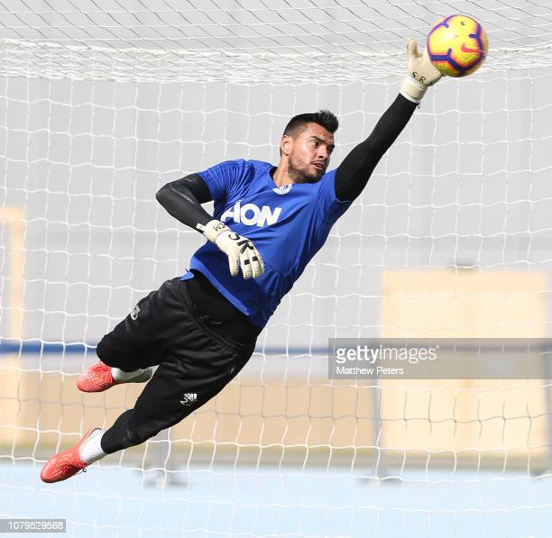 Sergio Romero of Manchester United in action during a first team training session at Nad Al Sheba Sports Complex on January 9 2019 in Dubai United...