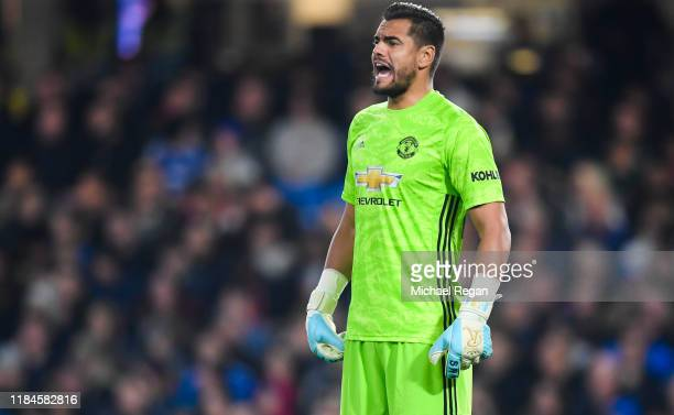 Sergio Romero of Manchester United in action during the Carabao Cup Round of 16 match between Chelsea and Manchester United at Stamford Bridge on...