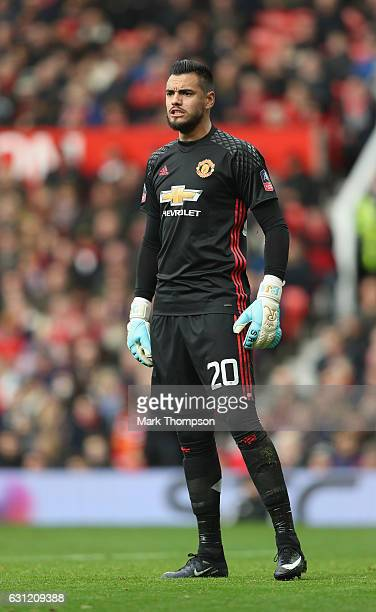 Sergio Romero of Manchester United in action during the Emirates FA Cup Third Round match between Manchester United and Reading at Old Trafford on...