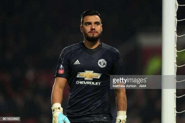 Sergio Romero of Manchester United looks on during the Emirates FA Cup Third Round match between Manchester United and Derby County at Old Trafford...