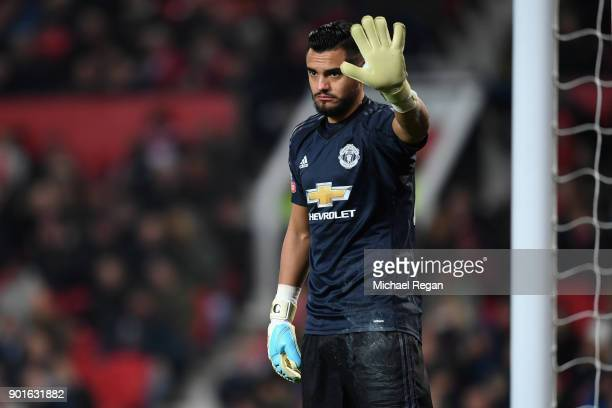 Sergio Romero of Manchester United looks on during the FA Cup 3rd round match between Manchester United and derby County at Old Trafford on January 5...