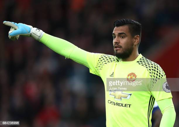 Sergio Romero of Manchester United looks on during the Premier League match between Southampton and Manchester United at St Mary's Stadium on May 17...
