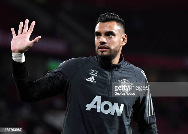Sergio Romero of Manchester United looks on during the UEFA Europa League group L match between Manchester United and FK Astana at Old Trafford on...
