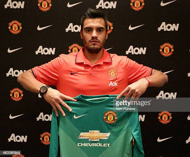 Sergio Romero of Manchester United poses after signing for the club on July 26 2015 in San Jose California