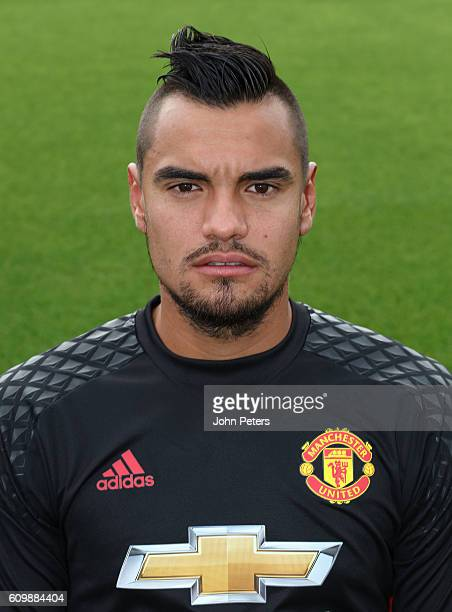 Sergio Romero of Manchester United poses for a portrait at the Manchester United Official Photocall on September 19 2016 in Manchester England