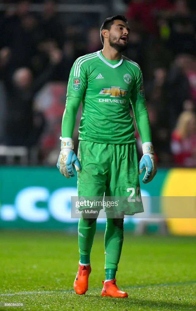 Sergio Romero of Manchester United reacts after conceding during the Carabao Cup Quarter-Final match between Bristol City and Manchester United at Ashton Gate on December 20, 2017 in Bristol, England.