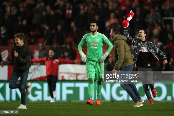 Sergio Romero of Manchester United reacts at the end of the Carabao Cup QuarterFinal match between Bristol City and Manchester United at Ashton Gate...