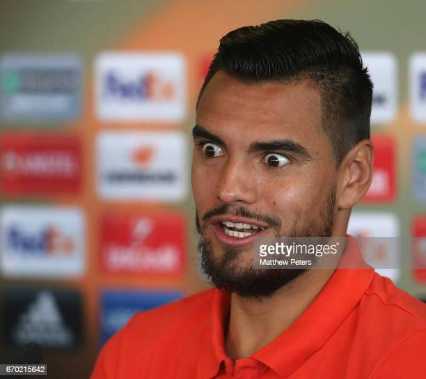 Sergio Romero of Manchester United speaks during a press conference at Aon Training Complex on April 19 2017 in Manchester United Kingdom