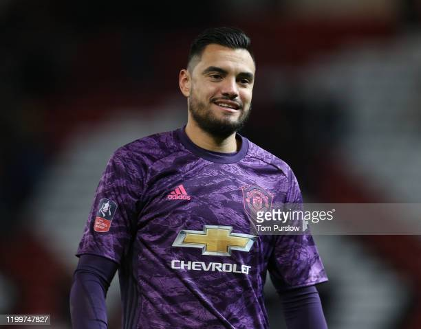 Sergio Romero of Manchester United walks off after the FA Cup Third Round Replay match between Manchester United and Wolverhampton Wanderers at Old...