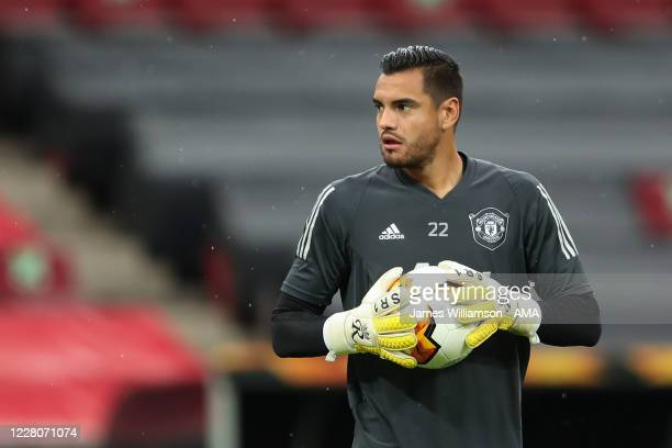 Sergio Romero of Manchester United warms up ahead of the UEFA Europa League Semi Final between Sevilla and Manchester United at RheinEnergieStadion...