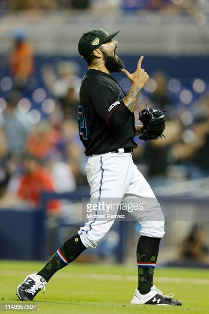 Sergio Romo of the Miami Marlins celebrates after defeating the New York Mets 86 at Marlins Park on May 17 2019 in Miami Florida