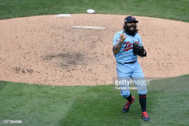 Sergio Romo of the Minnesota Twins celebrates defeating the Cleveland Indians in the game at Target Field on August 2 2020 in Minneapolis Minnesota...