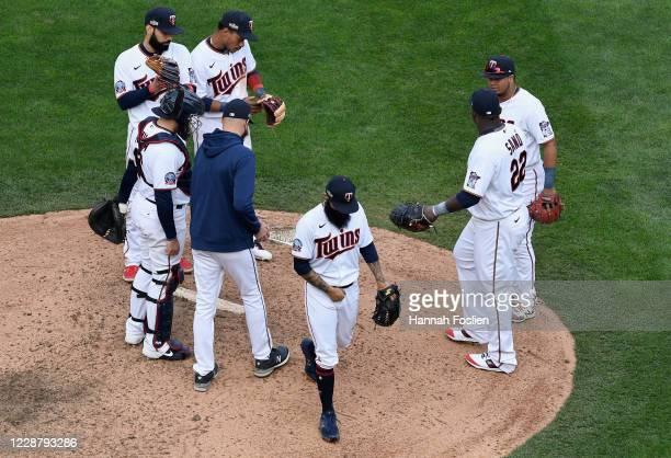 Sergio Romo of the Minnesota Twins is pulled during the ninth inning of Game One in the American League Wild Card Round against the Houston Astros at...
