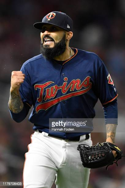 Sergio Romo of the Minnesota Twins reacts after the final out of the eighth inning in game three of the American League Division Series against the...