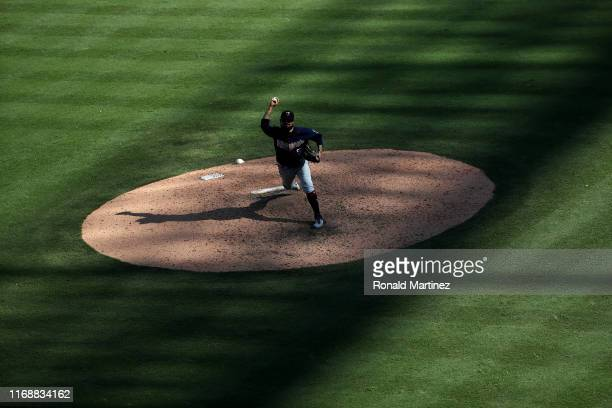 Sergio Romo of the Minnesota Twins throws against the Texas Rangers at Globe Life Park in Arlington on August 18 2019 in Arlington Texas