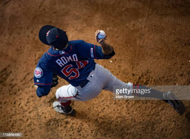 Sergio Romo of the Minnesota Twins warms up in the bullpen during the game against the Miami Marlins at Marlins Park on July 30 2019 in Miami Florida
