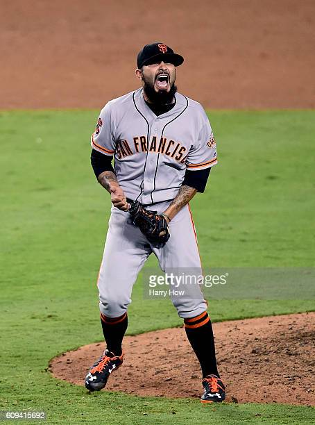 Sergio Romo of the San Francisco Giants celebrates a 20 victory over the Los Angeles Dodgers at Dodger Stadium on September 20 2016 in Los Angeles...
