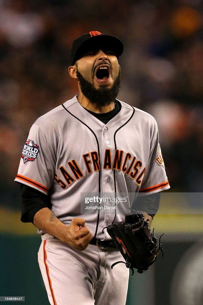 Sergio Romo #54 of the San Francisco Giants celebrates after striking out Omar Infante #4 of the Detroit Tigers to win Game Three of the Major League Baseball World Series at Comerica Park on October 27, 2012 in Detroit, Michigan. The San Francisco Giants defeated the Detroit Tigers 2-0.
