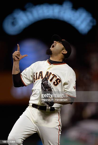 Sergio Romo of the San Francisco Giants celebrates after striking out Rosario Wilin of the Colorado Rockies to end the game for a 42 win at ATT Park...