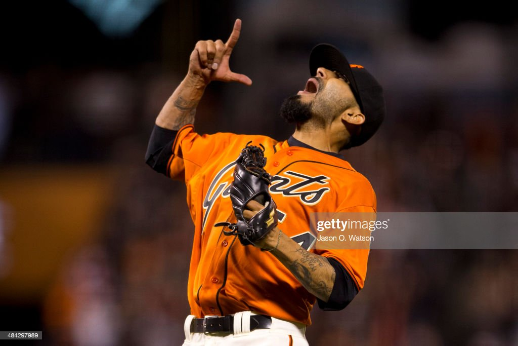 Sergio Romo #54 of the San Francisco Giants celebrates after the game against the Colorado Rockies at AT&T Park on April 11, 2014 in San Francisco, California. The San Francisco Giants defeated the Colorado Rockies 6-5.