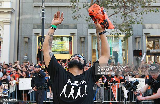 Sergio Romo of the San Francisco Giants celebrates during the Giants' vicotry parade on November 3 2010 in San Francisco California Thousands of...