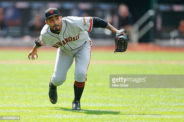 Sergio Romo of the San Francisco Giants in action against the New York Mets at Citi Field on August 4 2014 in the Flushing neighborhood of the Queens...