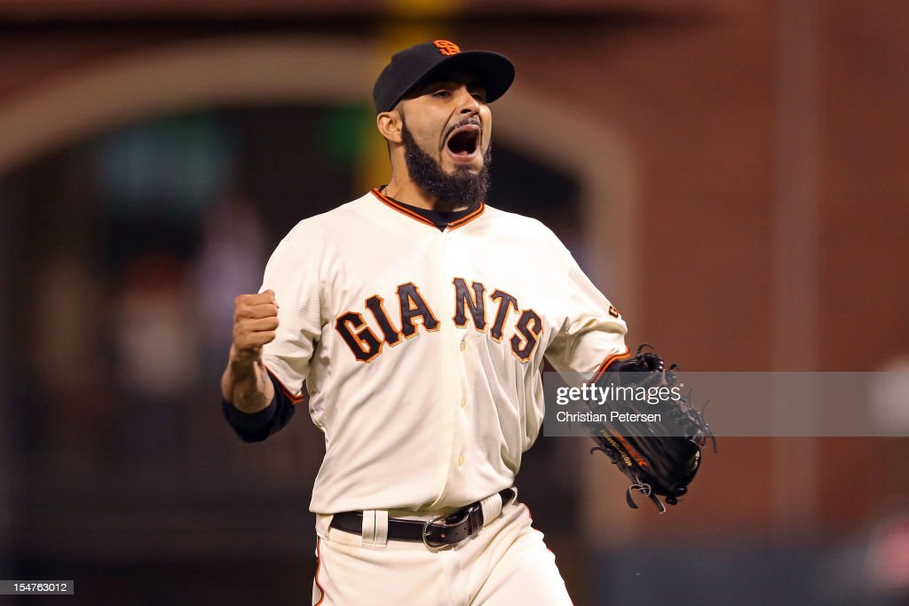 Sergio Romo #54 of the San Francisco Giants reacts after Omar Infante #4 of the Detroit Tigers fouled out for the final out of the game in the ninth inning during Game Two of the Major League Baseball World Series at AT&T Park on October 25, 2012 in San Francisco, California.
